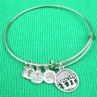 New Fashion Alex and Ani Ajustable Wire bracelets Life tree Charm bangles Free Shipping