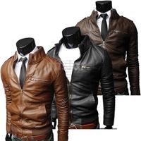 New Korean Style Men's Slim Zipper Designed PU Leather Coat Jacket 2 Colors/L XL XXL Brown Black free shipping 7717