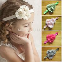 Free Shipping 16pcs/lot 2014 Elastic Hairbands with chiffon flower rhinestone baby girl headbands infant hair accessory headwear