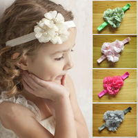 Free Shipping 16pcs/lot 2014 Elastic Hairbands with chiffon flower rhinestone baby girl headbands infant hair accessory headwear