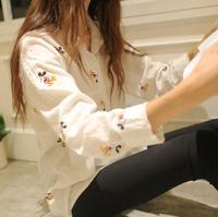 2014 autumn long-sleeve women clothing shirt tops all-match loose plus size V-neck cotton thin shirt Cartoon Mouse blusas