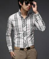 2014 autumn spring men shirts men's fashion slim long sleeve plaid shirt men casual shirts high quality