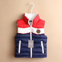 autumn winter children's brand clothes kids color stitching Stand collar cotton vest&waistcoats unisex Warmth Outerwear&Coats