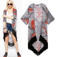 Fashion trend 2014 national tassel dovetail type cardigan medium-long sun protection clothing female