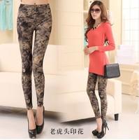 Hot!  High Quality 2014 New Fashion Printed Leggings Milk Silk Female Slim  Printed Spandex Leggings