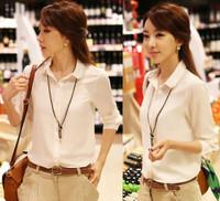 5101 2014 autumn women's chiffon shirt women's long-sleeve shirt professional white shirt