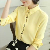 2014 chiffon shirt female autumn shirt plus size basic shirt long-sleeve top shirt