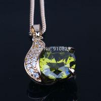 Genuine Green Stone 18k Yellow Gold GF Womens Pendant Necklace Chain Jewelry