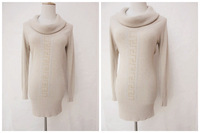 Autumn and winter fashion brief long design turtleneck pullover knitted sweater