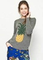 Women pullover pineapple sweater grey fall knit Korean fashion clothing O-neck Free shipping