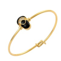 """New  CZ  Black  Waterdrop Baby Shoe Outline 24K Yellow Gold Plated Bracelets Bangles Fashion Jewelry For Baby Toddler1.65"""""""