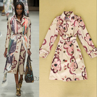 Luxury Brand Designer Coat Women Runway Fashion Long Sleeve Cute Floral Print With Sashes Trench Coat