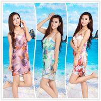 New Arrival Fashion Chiffon spaghetti strap one-piece dress sleepwear nightgown beach dress  women nightgown sexy beach dress