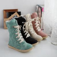 2014 Hot new Women's shoes plus size 34-43 autumn winter snow boots front strap flat heel medium-leg student boots wholesale