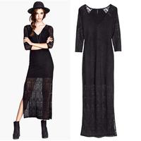Long design slim V-neck long-sleeve side vent lining cutout lace dress