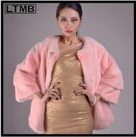 Pink Mink Fur coat with three quarter  sleeve&o-neck collar women's genuine fur coat  OVERCOAT  SHORT coat