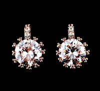 New Rose Gold Plated Swiss zircon Sparkling crown princess jewelry earrings fashion ear pin top quality
