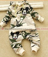 Free shipping 2014 Autumn new children clothing set printed  Boys girls sweater+pant 2pcs sport suit 5sets/lot in stock