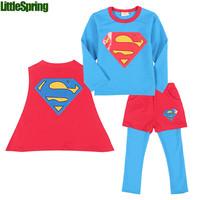 clothing set ! kidsTerry cotton three-piece suits boys Spring New Super hero T-shirt + Cloak + culottes  kids clothes ELZ-T0344