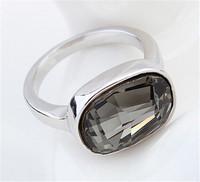 Fashion Brand  Big Black Crystal Rings For Women Swa Elements Austrian Rhinestone Crystal Wedding Rings 18k Gold Plated  14997