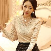 Brand 2014 Autumn Women Patchwork Lace Blouse Casual Slim Renda Blusas Femininas Long Sleeves Flower lLace Shirt Body Camisas