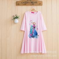 New 2014 Kids Clothing Autumn Romance Meninas Vestir Gilr Pink Princess Dress Girl Clothes
