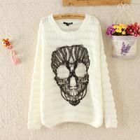 Women Sweater Top Sale Pullovers Silk Full O-neck Paris Women's Autumn 2014 Skull Gauze Spell Loose Bat Sleeve Sleeved Sweater