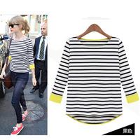839 2014 spring basic stripe shirt female long-sleeve patchwork pullover knitted t-shirt