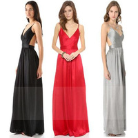 sexy dress shoulder strap V-neck racerback pleated invisible zipper long dress