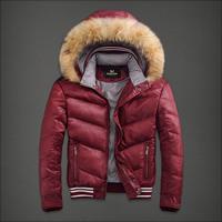 2014 Autumn and Winter Men's fur collar Jacket leisure wears short Down Jacket Fashion's Coat.