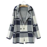 Free shipping 2014 autumn women's suit collar big plaid sweater gunnysack long design loose sweater female outerwear