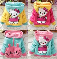 2014 Hello Kitty Autumn Winter Warm Thickening Baby Jacket Girls Coat (4Pcs/lot) Children's Cotton Outerwear[iso-14-9-3-A1]