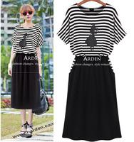 886 normic stripe short-sleeve fashion plus size one-piece dress modal one-piece dress mm