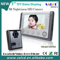 7 Inch apartment video door phone Intercom system  Kit 1-camera 1-monitor Night Vision