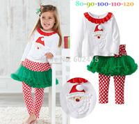 5set Children girl's 2014 Autumn Long sleeve t-shirt with Santa Claus+skirt dot pant  Christmas 2-piece/set tz545