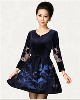 Brands women dress 2014 autumn vintage high quality slim flowers embroidery ladies office wear dresses drop shipping Y501314