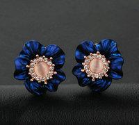 Retail & Wholesale Simulated opal fashion flower elegant stud earrings setting rhinestone brand name jewelery