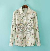 2014 europe style women casual floral print chiffon blouse & shirts long-sleeve blusas woman tops Q094