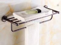 Free Shipping! New Oil Rubbed Bronze Bathroom Towel Shelf Flower Pattern Base Single Towel Bar