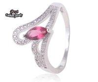 Sterling Silver Red Rhinestone Crystal Crown Zircon Ring Women Wedding Ring ZC226RG
