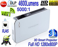 2014 New 3D Smart Projector Wifi 3800 lumens LED Full HD 1280*800 Home Theater Projector LAN Free shipping