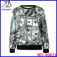 Wholesale Autumn Winter 2014 Fashion Women Hoody  3D Printed Dollar Sweatshirt Women Loose Long Sleeve Sport Suit WY-40823