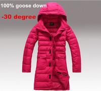 winter down coat women goose down outwear long slim coat jacket free shipping Down & Parkas
