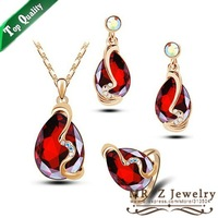 Fashion Wedding Gift Set Ring (size 7) Necklace Earrings For Women Red Crystal Jewelry Set Free Shipping