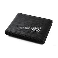 Car emblem 100% Leather Driver's license leather sheath / Driving License Bag for Hyundai IX35 tucson Elantra i30 IX20 Veloster
