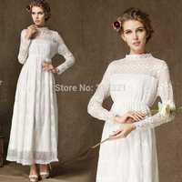 9212 # 2014 New lace collar long-sleeved lace hem pick upscale length skirt dress