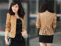 2014 Drop Ship New Spring Fashion Women Slim fit Business Puffy Sleeves Suit Blazer Jacket Coat atacado roupas femininas