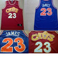 LeBron James #23 Cleveland Jerseys, Retro CAVS Mesh Embroidery Logo LeBron James Throwback Cleveland 23 Basketball Jersey