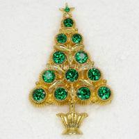 Wholesale 12piece/lot Emerald Crystal Rhinestone Christmas tree Brooches Fashion Apparel Christmas gift Pin Brooch C2022 M2