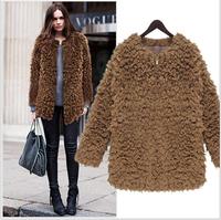 2014 winter slim super large black brown women wool coat women cardigans sweater casual winter jacket for women free shipping